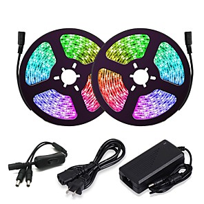 cheap LED Strip Lights-ZDM 5M/16.4ft LED Light Strips RGB Tiktok Lights 150 LED 5050 SMD 10mm 2811 IC Chasing Magic Dream Color Lights with 1 to 2 On-line switch 12V 3A Power (Not Include Programmable Controller)