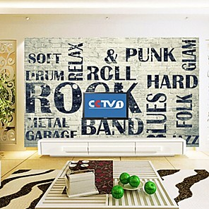 cheap Wall Murals-Wallpaper / Mural Canvas Wall Covering - Adhesive required Art Deco / Pattern / Word