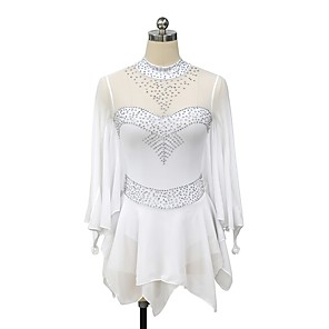 cheap Ice Skating Dresses , Pants & Jackets-Figure Skating Dress Women's Girls' Ice Skating Dress White Flower Patchwork Spandex Micro-elastic Competition Skating Wear Handmade Patchwork Classic Long Sleeve Ice Skating Figure Skating