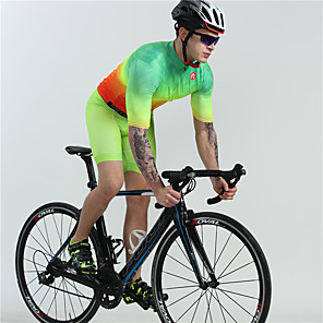 cheap Triathlon Clothing-BOESTALK Men's Short Sleeve Cycling Jersey with Shorts Green Bike Clothing Suit Moisture Wicking Quick Dry Ultraviolet Resistant Sports Spandex Solid Colored Mountain Bike MTB Road Bike Cycling