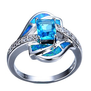 cheap Rings-Women's Engagement Ring 1pc Light Blue Rhinestone Alloy Gift Daily Jewelry
