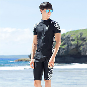 cheap Wetsuits, Diving Suits & Rash Guard Shirts-SANQI Men's Rash Guard Dive Skin Suit Neoprene Diving Suit Quick Dry Short Sleeve Front Zip - Swimming Water Sports Patchwork Summer