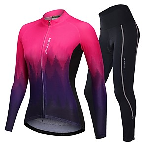 cheap Cycling Jerseys-Nuckily Women's Long Sleeve Cycling Jersey with Tights Winter Fleece Polyester Spandex Blue+Yellow Fuchsia Green Gradient Bike Clothing Suit Breathable Sports Reactive Print Mountain Bike MTB Road