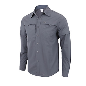 cheap Hiking Shirts-Men's Hiking Shirt / Button Down Shirts Long Sleeve Outdoor UV Resistant Breathable Quick Dry Sweat-wicking Convert to Short Sleeves Shirt Top Autumn / Fall Spring Polyester / Cotton Blend Hunting