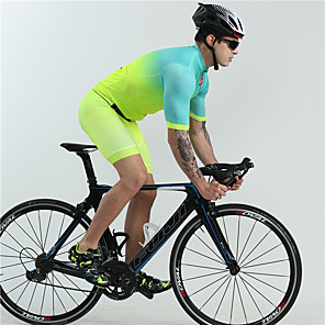 cheap Triathlon Clothing-BOESTALK Men's Short Sleeve Cycling Jersey with Shorts Green Bike Clothing Suit Moisture Wicking Quick Dry Ultraviolet Resistant Sports Spandex Fashion Mountain Bike MTB Road Bike Cycling Clothing