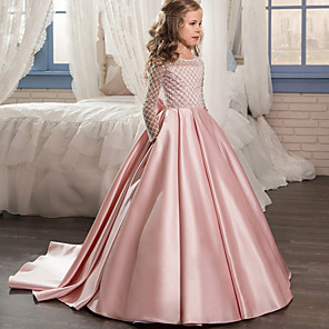 cheap Latin Dancewear-Princess Sweep / Brush Train Wedding / Party / Pageant Flower Girl Dresses - Lace / Satin / Tulle Long Sleeve Jewel Neck with Bow(s)