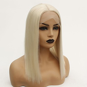 cheap Synthetic Lace Wigs-Synthetic Lace Front Wig Straight Middle Part Lace Front Wig Blonde Short Blonde Synthetic Hair 12-16 inch Women's Heat Resistant Women Hot Sale Blonde / Glueless