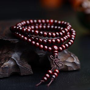 cheap Men's Bracelets-Men's Bead Bracelet Wrap Bracelet Beaded Layered Simple Vintage Wooden Bracelet Jewelry Black / Yellow / Red For Daily Street