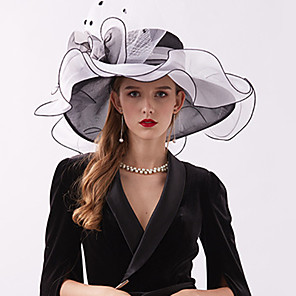 cheap Historical & Vintage Costumes-Organza / Feathers Kentucky Derby Hat / Fascinators / Headdress with Feather / Flower / Tiered 1 Piece Wedding / Outdoor / Horse Race Headpiece