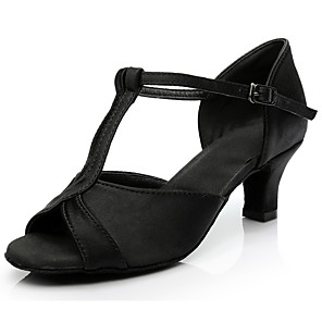 cheap Latin Shoes-Women's Dance Shoes Latin Shoes Heel Cuban Heel Customizable Black / Fuchsia / Gold / Performance / Satin / Leather / Practice