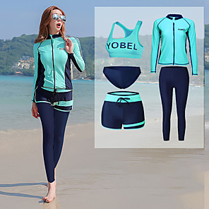 cheap Wetsuits, Diving Suits & Rash Guard Shirts-YOBEL Women's Rash Guard Dive Skin Suit Neoprene Diving Suit Quick Dry Full Body Front Zip - Swimming Diving Snorkeling Solid Colored Letter & Number Autumn / Fall Spring Summer / Winter
