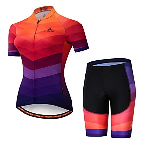 cheap Cycling Jerseys-21Grams Women's Short Sleeve Cycling Jersey with Shorts Lycra Camouflage Bike Jersey Padded Shorts / Chamois Clothing Suit Breathable Moisture Wicking Reflective Strips Sports Multi Color Clothing