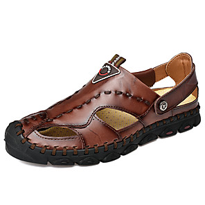 cheap Men's Slip-ons & Loafers-Men's Leather Shoes Cowhide Summer Business / Casual Sandals Walking Shoes Breathable Black / Light Brown / Dark Brown