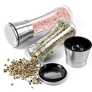cheap Kitchen Utensils & Gadgets-Creative Stainless Steel Mill Salt Pepper DIY Manual Bottle Grinder Glass Kitchen Tool Pepper Grinder Bottle