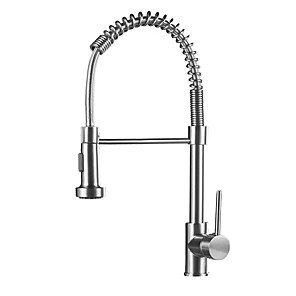 cheap Kitchen Faucets-Kitchen faucet - Single Handle One Hole Nickel Brushed Pull-out / ­Pull-down Vessel