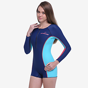 cheap Wetsuits, Diving Suits & Rash Guard Shirts-Dive&Sail Women's Shorty Wetsuit 1.5mm Elastane Neoprene SCR Neoprene Diving Suit Thermal / Warm Quick Dry Long Sleeve Front Zip - Swimming Diving Water Sports Patchwork Summer / High Elasticity