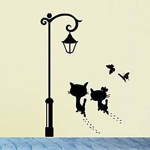 cheap Wall Stickers-Cats UnderThe Street Light Wall Stickers Romantic Background for Home Decoration Mural Wallpaper Art Decals Love Cat Sticker