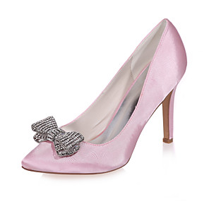 cheap Wedding Shoes-Women's Satin Spring & Summer Sweet Wedding Shoes Stiletto Heel Pointed Toe Rhinestone Pink / Champagne / Ivory / Party & Evening