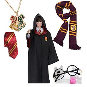 cheap Anime Cosplay Accessories-Cosplay Magic Harry Gryffin d'or Slytherin Unisex Movie Cosplay Red / black Cloak Glasses Necklace Cotton / Scarf / Tie / Scarf / Tie