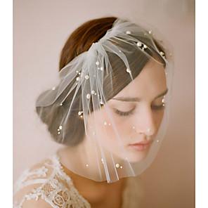 cheap Wedding Veils-One-tier Pearl Wedding Veil Blusher Veils with Solid 10-20cm Fabric Swatch / Drop Veil