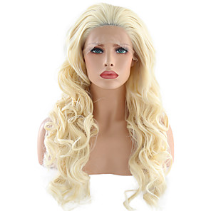 cheap Synthetic Lace Wigs-Synthetic Lace Front Wig Wavy Free Part Lace Front Wig Blonde Long Light Blonde Synthetic Hair 24 inch Women's Adjustable Heat Resistant Party Blonde