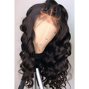 cheap Synthetic Lace Wigs-Remy Human Hair Lace Front Wig Free Part Rihanna style Brazilian Hair Wavy Loose Wave Black Wig 130% 150% 180% Density Soft Women Natural Hairline African American Wig Women's Long Human Hair Lace Wig