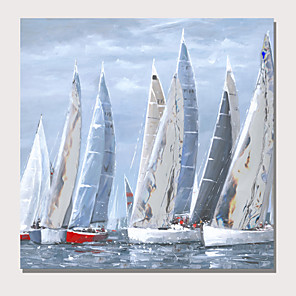 cheap Landscape Paintings-Oil Painting Hand Painted - Abstract Landscape Comtemporary Modern Stretched Canvas
