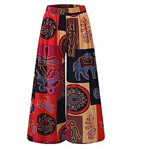 cheap Women's Sandals-Women's Plus Size Daily Loose Wide Leg Pants - Color Block Purple Red Orange S / M / L
