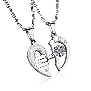 cheap Pendant Necklaces-Men's Women's Clear AAA Cubic Zirconia Pendant Necklace Geometrical Broken Heart Heart Letter Hollow Heart Relationship Elegant Hip-Hop Steel Stainless Silver 50 cm Necklace Jewelry 2pcs For Wedding