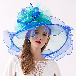 cheap Historical & Vintage Costumes-Organza / Feathers Kentucky Derby Hat / Fascinators / Headdress with Feather / Flower / Tiered 1 Piece Wedding / Outdoor Headpiece