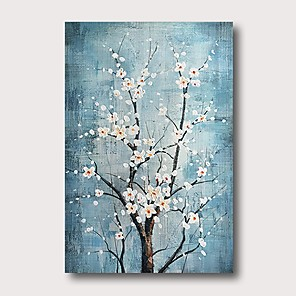 cheap Floral/Botanical Paintings-Oil Painting Hand Painted - Abstract Comtemporary Modern Stretched Canvas
