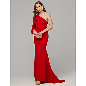 cheap Evening Dresses-Mermaid / Trumpet Sexy Red Engagement Formal Evening Dress One Shoulder Sleeveless Sweep / Brush Train Crepe Jersey with Draping 2020