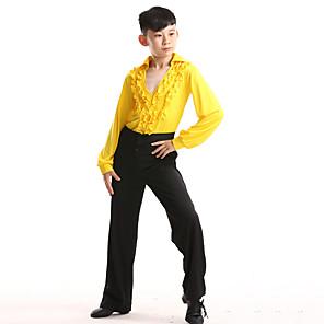 cheap Latin Dancewear-Latin Dance Kids' Dancewear Top Cascading Ruffles Crystals / Rhinestones Boys' Training Performance Long Sleeve Polyester