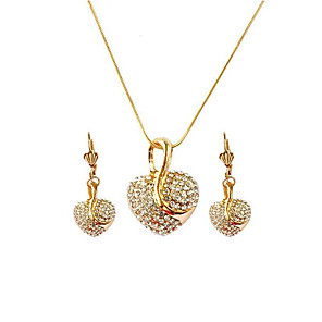 cheap Jewelry Sets-Women's Drop Earrings Pendant Necklace 3D Heart Stylish Unique Design Rhinestone Rose Gold Plated Earrings Jewelry Rose Gold / Gold / Rose Gold 2 For Gift Daily 1 set