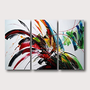 cheap Abstract Paintings-Oil Painting Hand Painted - Abstract Comtemporary Modern Stretched Canvas / Three Panels