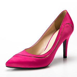 cheap Women's Heels-Women's Satin Spring &  Fall Classic / Sweet Heels Stiletto Heel Pointed Toe Fuchsia / Red / Royal Blue