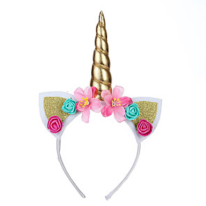 cheap Movie & TV Theme Costumes-Unicorn Rabbit Mascot Ears Headband Kid's Girls' Cosplay Easter Festival / Holiday Fabric Blue / Golden / Fuchsia Carnival Costumes Floral Unicorn