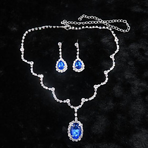 cheap Jewelry Sets-Sapphire Crystal Jewelry Set Pendant Necklace Tassel Solitaire Oval Cut Drop Ladies Party Cubic Zirconia Earrings Jewelry White / Blue For