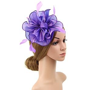 cheap Hair Jewelry-Women's Fascinators For Prom Princess Fabric Wine Purple Blushing Pink