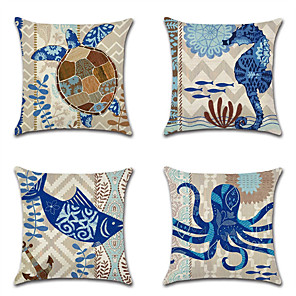 cheap Pillow Covers-4 pcs Cotton / Linen Pillow Cover Pillow Case, Wildlife Nautical Beach Style New Arrival