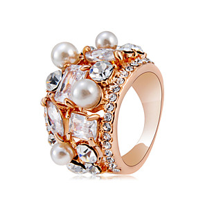 Недорогие Модные ожерелья-Жен. Заявление Кольцо Кристалл 1шт Розовое золото Искусственный жемчуг Медь Позолоченное розовым золотом Художественный модный гипербола Для вечеринок Карнавал Бижутерия Cool