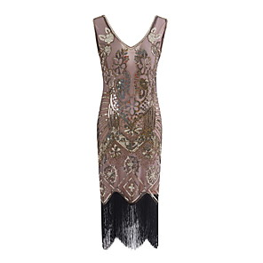 cheap Historical & Vintage Costumes-The Great Gatsby Charleston Vintage 1920s Flapper Dress Party Costume Masquerade Women's Lace Sequins Tassel Sequin Costume Black / Golden / Silver Vintage Cosplay Party Prom Sleeveless