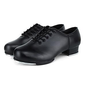 cheap Wedding Wraps-Women's Dance Shoes Cowhide Tap Shoes Heel Thick Heel Customizable Black / Performance / Practice