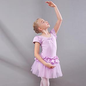 cheap Ballet Dancewear-Kids' Dancewear Ballet Dress Ruching Split Joint Girls' Training Performance Short Sleeve Natural Mesh Cotton