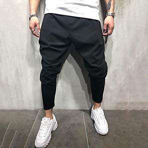 cheap Fitness Gear & Accessories-Men's Exaggerated Daily Sweatpants Pants Solid Colored Black M L XL
