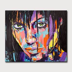 cheap Abstract Paintings-Oil Painting Hand Painted - People Pop Art Classic Modern Rolled Canvas