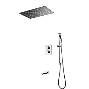 cheap Hand Shower-LED Shower Faucet-Chrome Wall mounted Bath Thermostatic Shower Mixer Taps