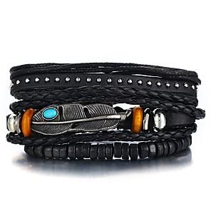 cheap Pendant Necklaces-3pcs Men's Leather Bracelet Retro Rope Plaited Wrap Feather Unique Design Hip-Hop PU(Polyurethane) Bracelet Jewelry Black For Gift Daily