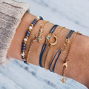 cheap Necklaces-Women's Cubic Zirconia Bead Bracelet Wrap Bracelet Loom Bracelet Layered Moon Letter Star European Trendy Fashion Rhinestone Bracelet Jewelry Gold For Daily Going out Office & Career