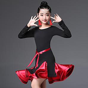 cheap Latin Dancewear-Latin Dance Kids' Dancewear Dress Ruching Split Joint Girls' Performance Long Sleeve High Nylon